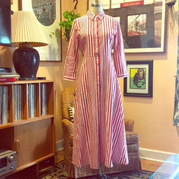 4ae05a65ee2 Zara Red   White Stripe Shirt Dress. M 5acf781331a3768fcc68b67b